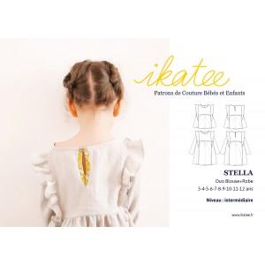 Patron enfant fille  Duo blouse robe STELLA 3-12 Ikatee