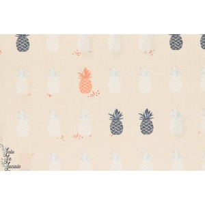 tissu coton Popeline Ananas Cream agf Art gallery Fabrics Charleston